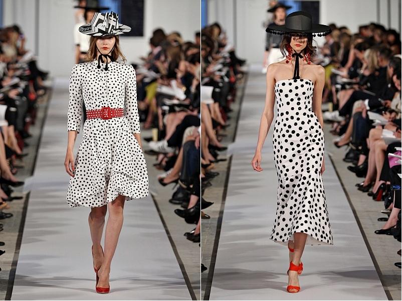 Модное платье в горошек - 2 фото - Красный Белый