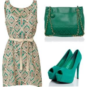 зеленая-сумка-платье-летнее-зеленые -туфли