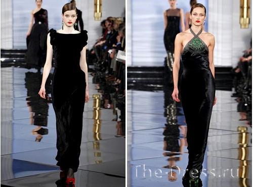 Длинные бархатные черные платья