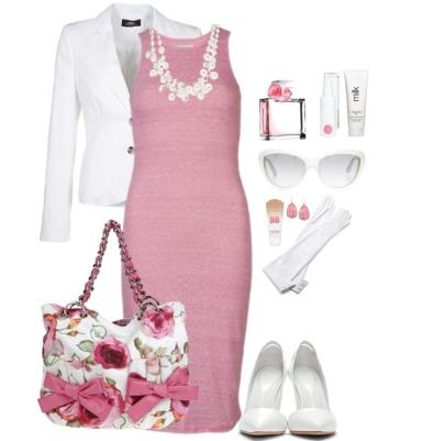 Коралловое платье, с чем носить, фото